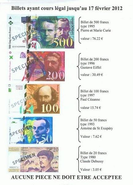anciens billets en francs